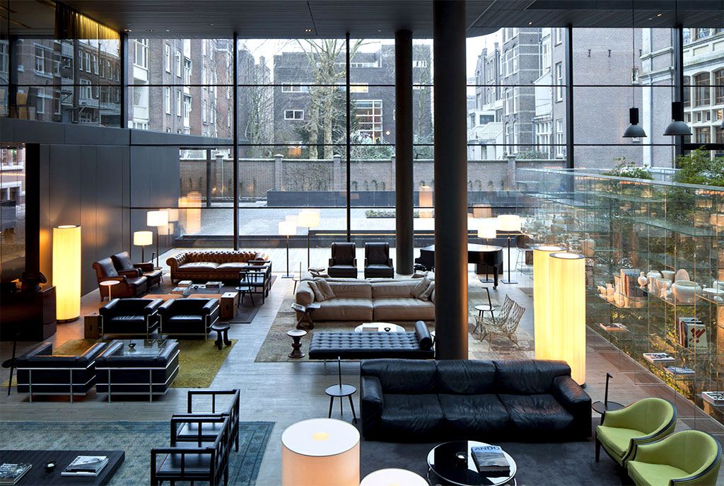 Natural light and a touch of old-world historical charm gives Conservatorium Hotel's lobby that contemporary feel.