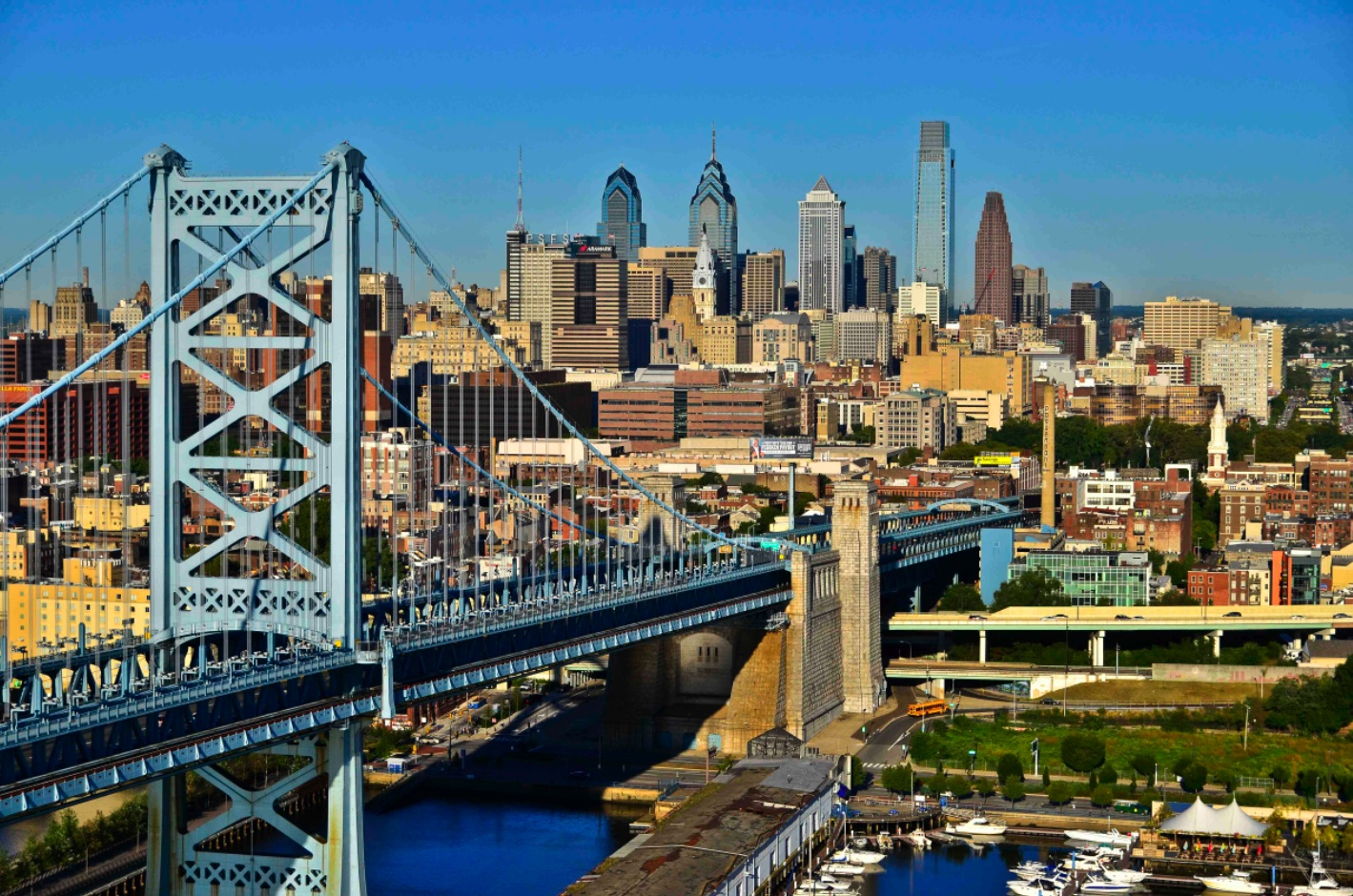 Built in 1926, the Benjamin Franklin Bridge, which traverses the Delaware River, connects Philadelphia, the nation's fifth largest city, and New Jersey. More than 100,000 cars, dozens of pedestrians and high-speed rail lines cross the bridge daily.  Credit: Photo by B. Krist for Visit Philadelphia™