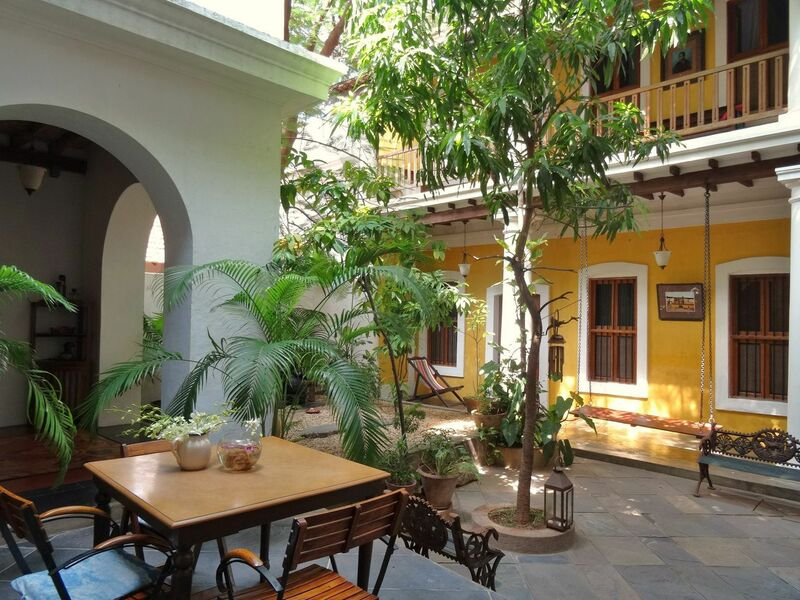 Interior courtyard of the Gratitude Hotel, an example of Franco-Tamil Architecture.