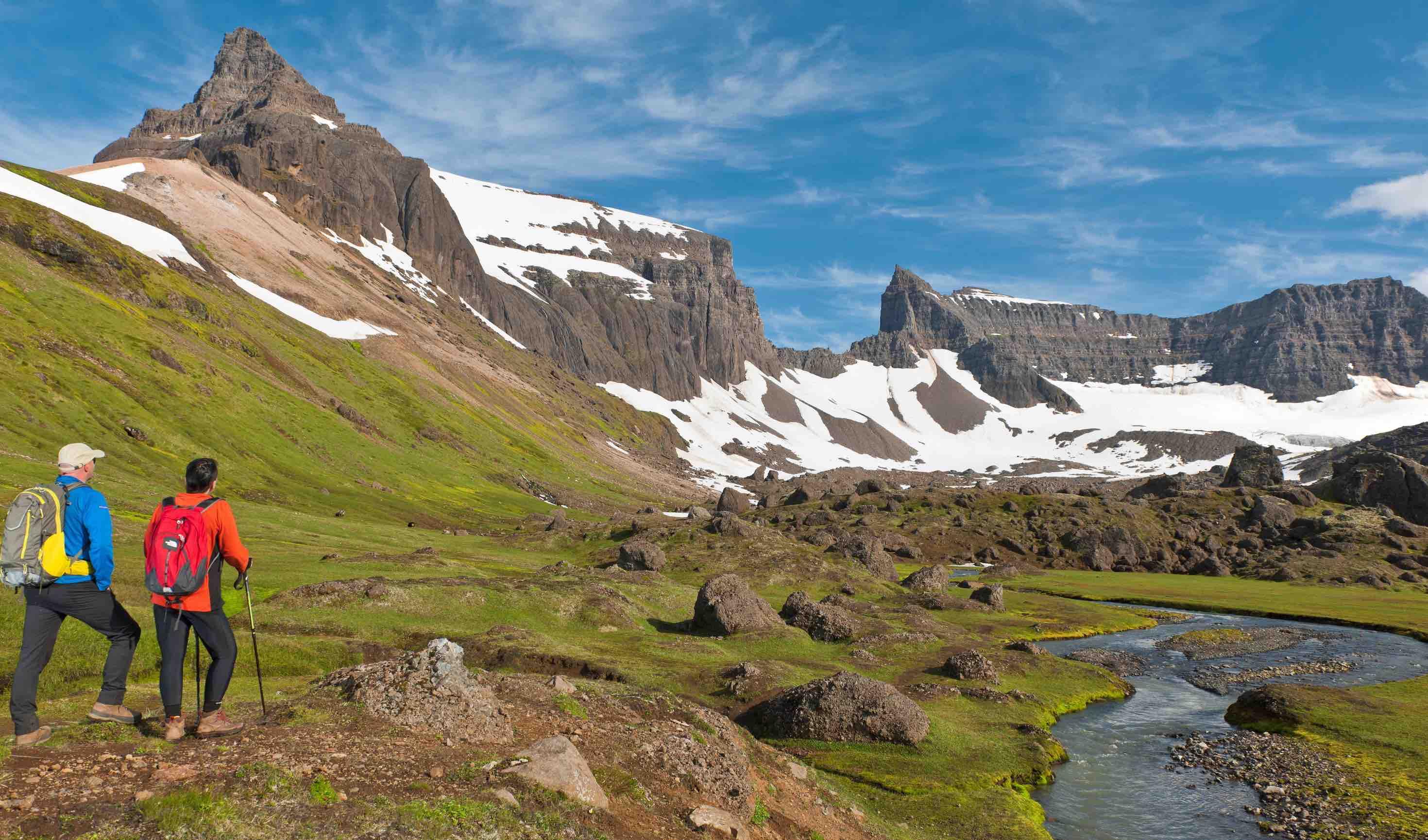 Trekking in the Dyrfjoll Mountains, Iceland. Photo by Thorsten Henn