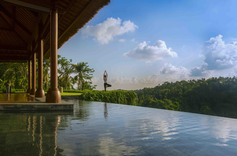 Yoga at the Bali Mandapa, a Ritz Carlton Reserve.