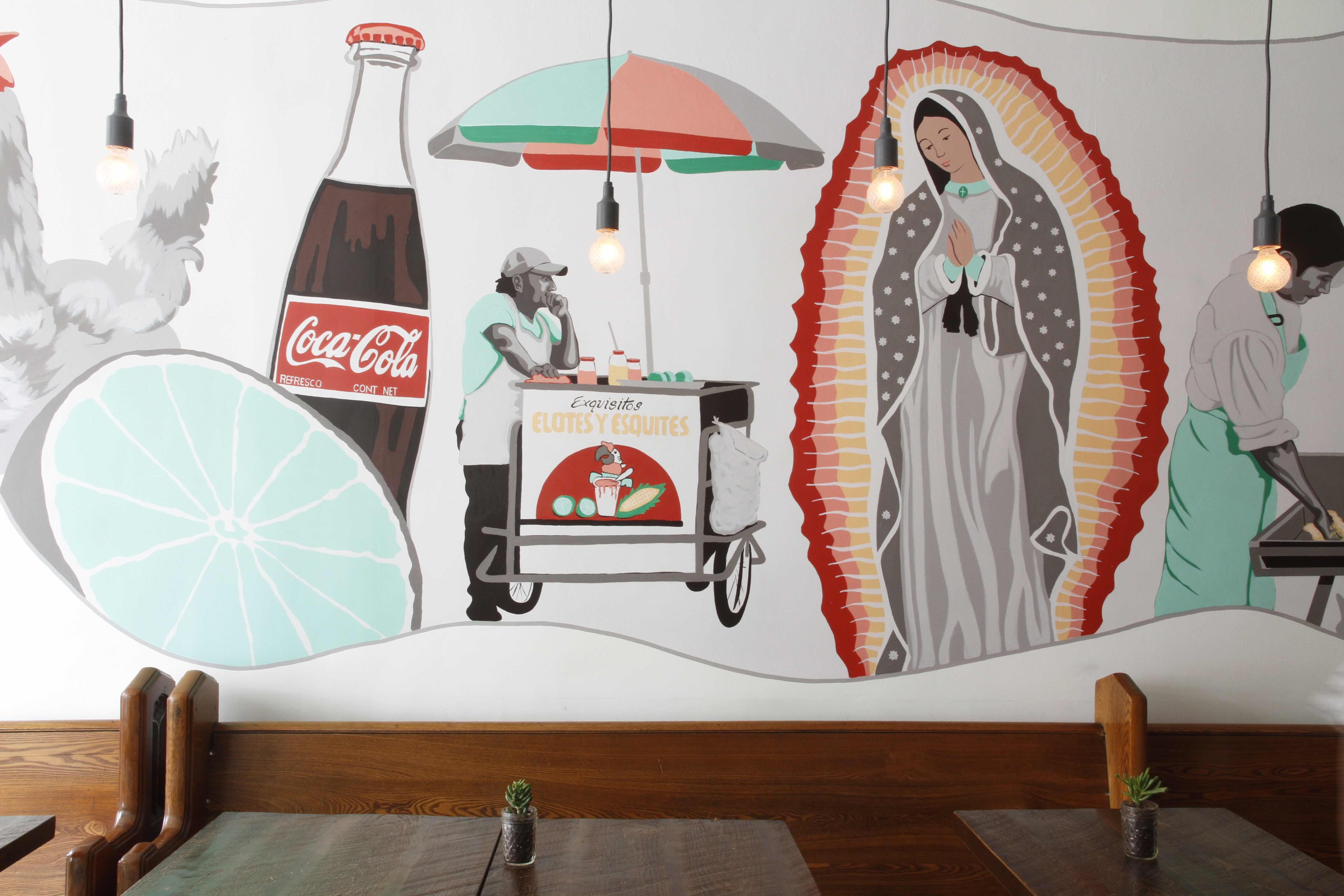 Whimsical murals depicting common culinary scenes in Mexico, in the country's signature red, green and white hues. They're by local artist Luke Pollard, inspired by Chef Enrique Olvera's book, Mexico from the Inside Out.