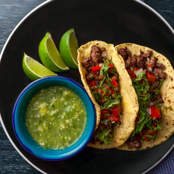 Freshly made Costilla tacos - rib eye steak with spicy salsa macha - from Campechano's Restaurant.