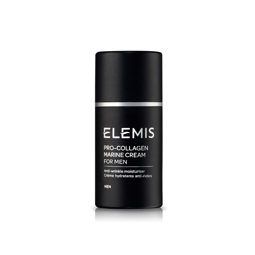 For in-flight facials?  Elemis Pro-Collagen Marine Cream for men helps to diminish lines while energizing the skin. www.elemis.com