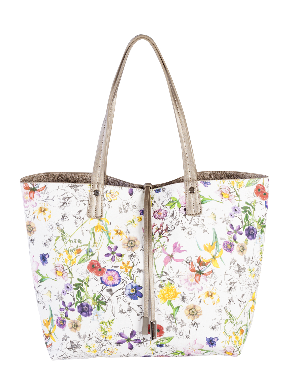 Simplify your airport experience with a well-sized, cleverly designed travel bag. The bold, bright florals of this David Jones reversible solid, floral/faux leather tote, with a decorative dangle and trimmed with silver tone hardware, are sure to liven up the dreariest of overhead bins. It's a fun, budget-friendly option for the traveller who's not afraid to make a statement. $60; holiday.ca