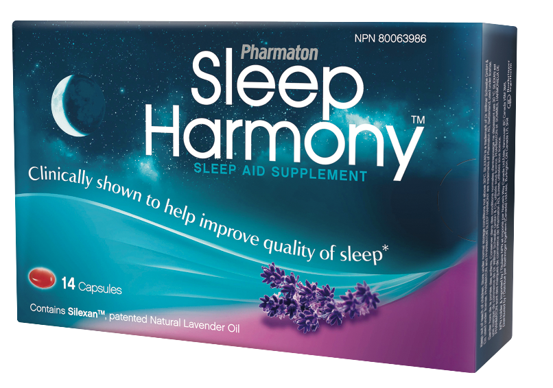 Pharmaton® Sleep Harmony™ is made with a patented lavender oil that relieves symptoms of stress and exhaustion, and lets you sleep better—naturally. Available at your local drug store. Retails for app. $16