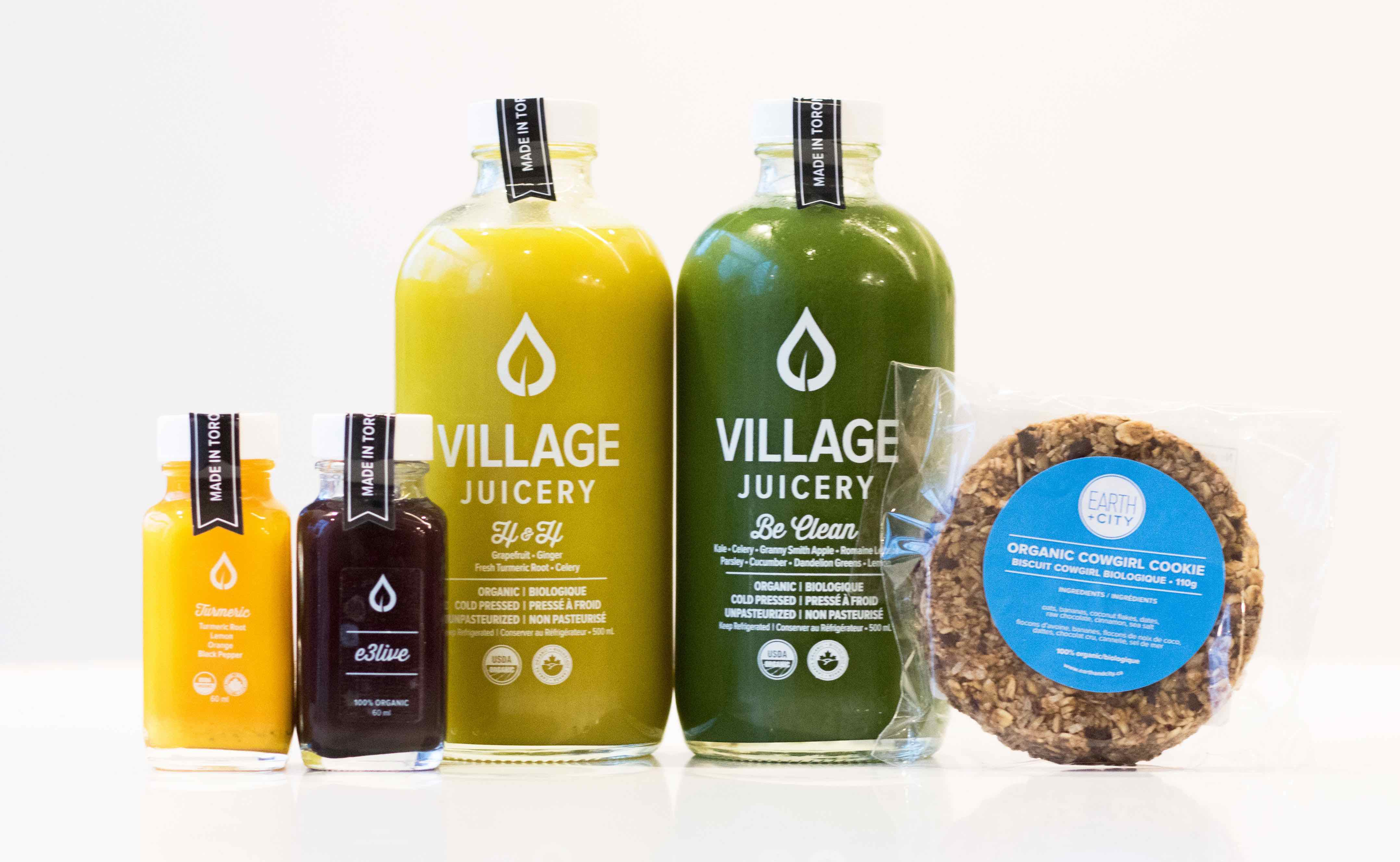 For post-travel recovery, the Village Juicery Recovery Pack reduces inflammation, boosts immunity, and nourishes dry skin. It includes Hydrate & Heal juice with Vitamin C, Potassium and Magnesium; Be Clean juice with nutrient-dense power vegetables; a wholesome Earth + City Organic Cowgirl Cookie; an E3 Live Shot; and a Turmeric Shot or Immunity Shot to reset jetlag. $30; villagejuicery.com